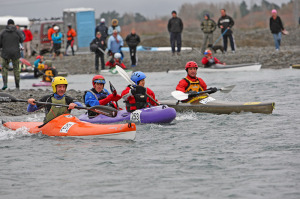 Lauri and I jockey for position at the start of the race. Photo by PhotoChick