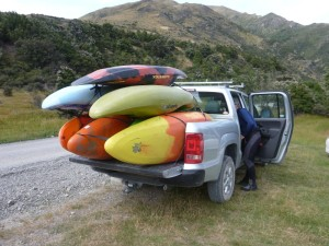 Kayaks all loaded for the shuttle to Jollie Brook