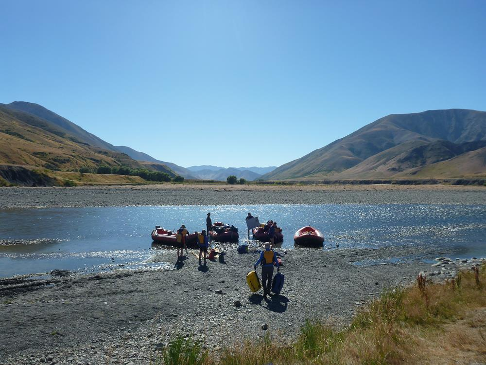 Loading the rafts near the Acheron confluence.