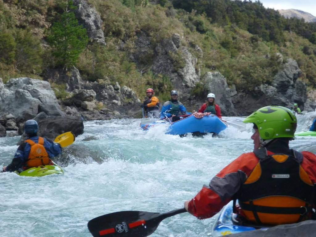 The raft navigates a rapid.