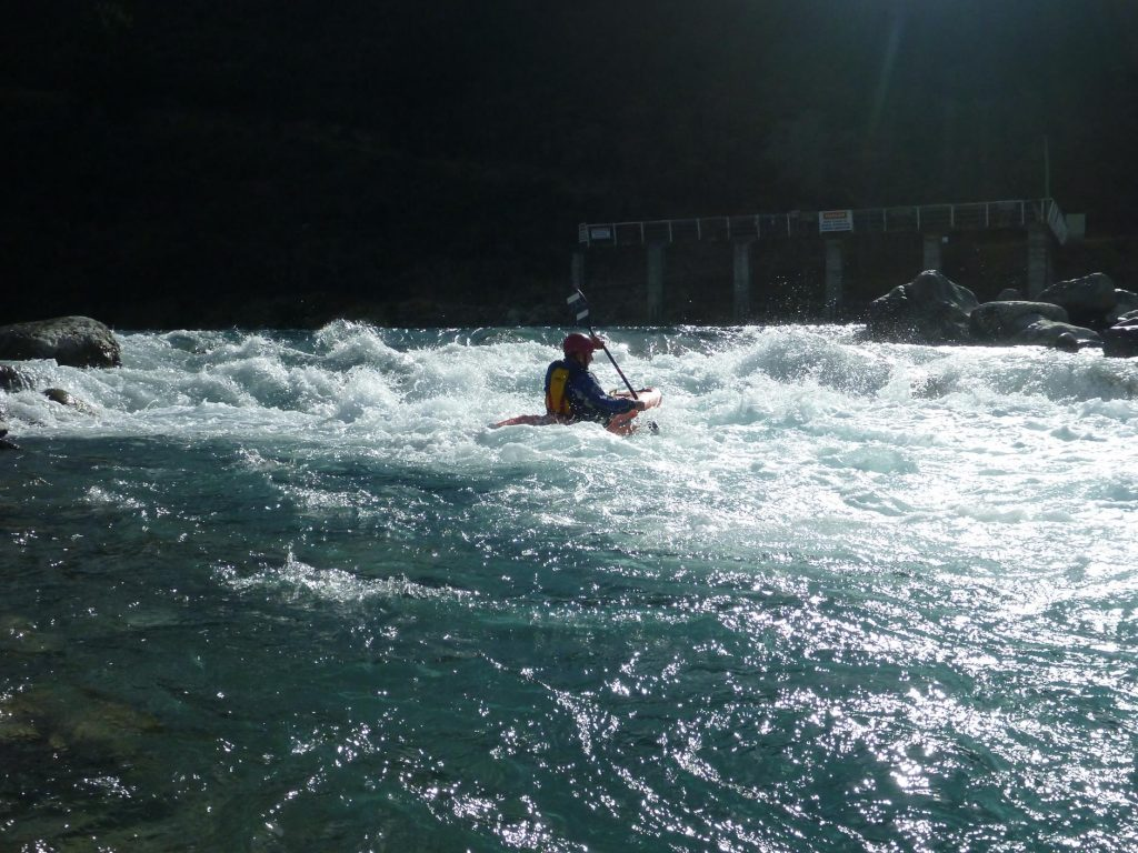 Playing in the white water below the Weir.