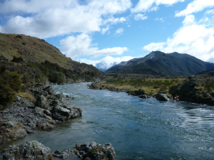 Looking upstream towards the mountains
