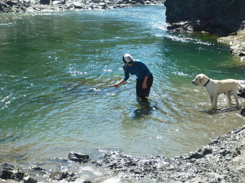 Teaching Baxter how to fetch a stick from the river.